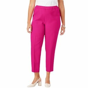 Roaman's pleated straight leg ankle pant Bend Over